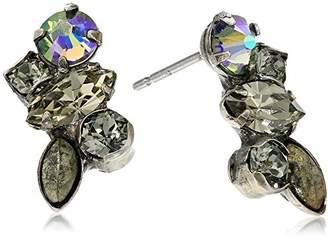 Sorrelli Core Antique Silver Tone Crystal Rock Petite Cluster Post Earrings