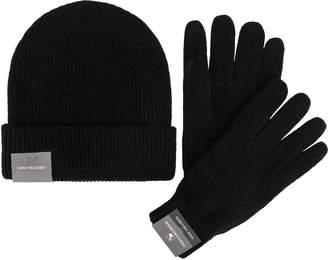 Van Heusen Men's Essential Rib-Knit Touchscreen Glove & Beanie Set
