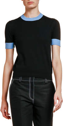 Marni Contrast-Trim Short-Sleeve Sweater