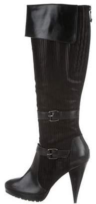 Oscar de la Renta Leather Platform Boots