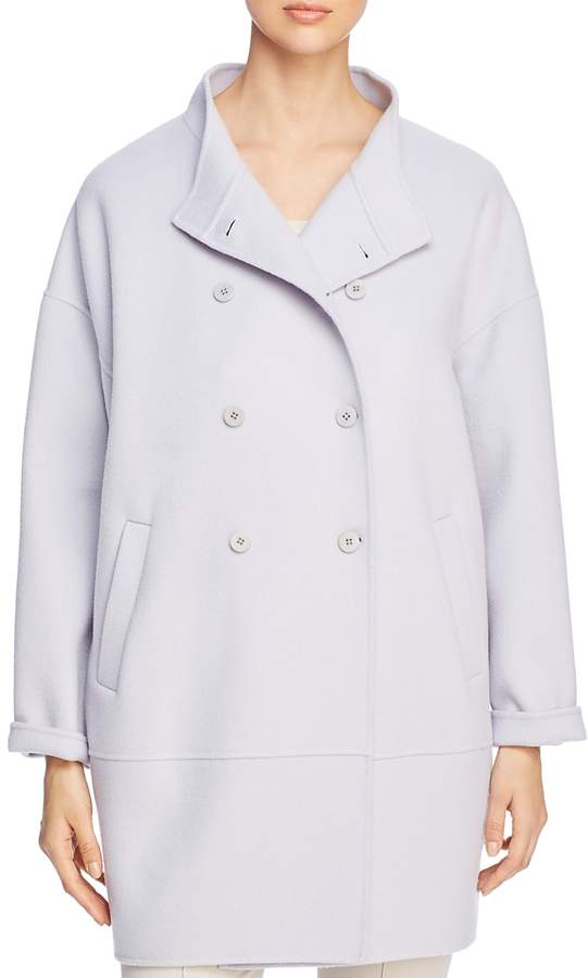 Stand-Collar Double-Breasted Coat