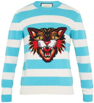 Gucci Angry Cat-intarsia striped wool sweater