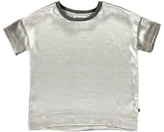 Molo Rheta Metallic Blouse, Silver, Size 3T-14