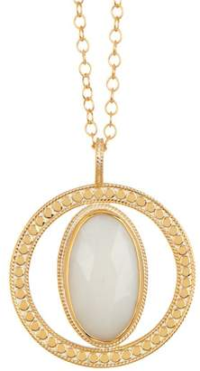 Anna Beck 18K Gold Plated Sterling Silver White Opal Pendant Necklace
