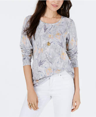 Style&Co. Style & Co Printed Crewneck Top