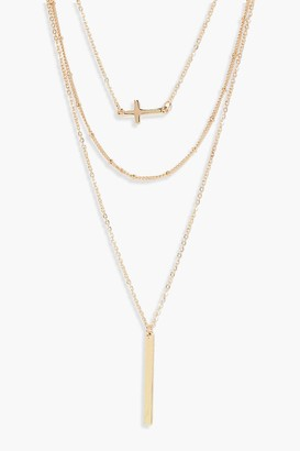 boohoo Layered Cross And Bar Necklace