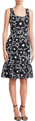 Carolina Herrera Floral Print Trumpet Dress