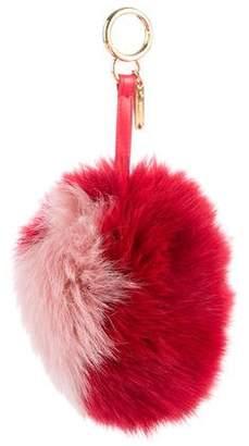Fendi Heart Fox Fur Pom-Pom Bag Charm