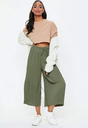 Missguided Khaki Pleated Culottes