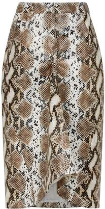 Pushbutton PushBUTTON Brown Coated Snake-print Skirt