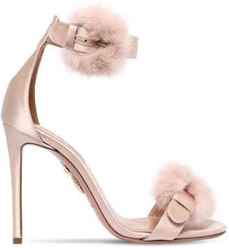 Aquazzura 105mm Sinatra Fur & Satin Sandals