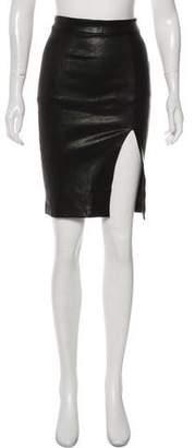 Frame Knee-Length Leather Skirt
