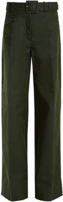 Oscar de la Renta High-rise wide-leg cotton-blend trousers