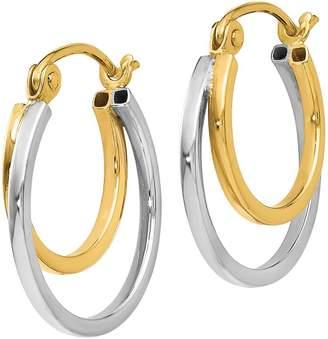 14K Gold Two-Tone Double Hoop Earrings