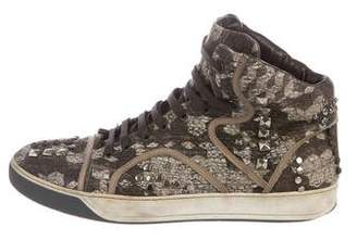 Lanvin Studded High-Top Sneakers