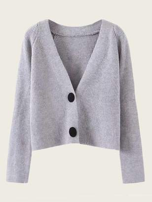 Shein V Neck Button Front Rib-knit Cardigan