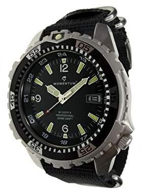 Momentum Men's Quartz Stainless Steel and Nylon Watch