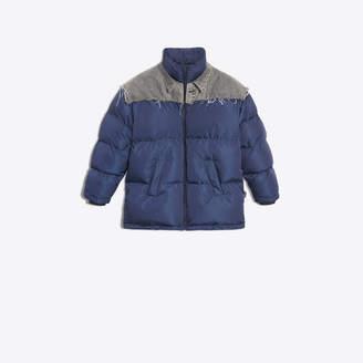 Balenciaga Denim paneled technical fabric puffer jacket