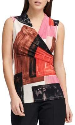 Donna Karan Sleeveless Printed Ruched Top
