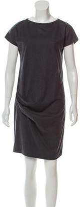 Brunello Cucinelli Monili-Trimmed Virgin Wool Dress Grey Monili-Trimmed Virgin Wool Dress