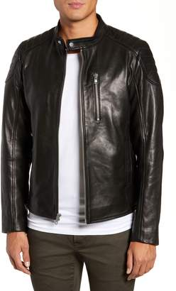 LAMARQUE Quilted Shoulder Leather Biker Jacket