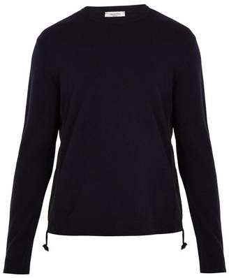 Valentino - Crew Neck Contrast Panel Wool Sweater - Mens - Navy