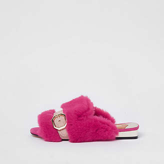 River Island Womens Pink faux fur peep toe backless loafers
