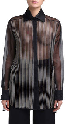 Fendi Organza Long-Sleeve Blouse