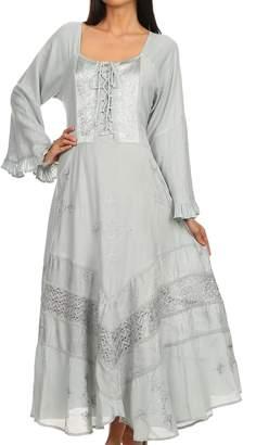 Sakkas 15223 - Mirabel Stonewashed Corset Style Floral Emboridery Kimono Sleeve Dress