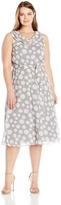 MSK Women's Plus Size Woven Drape Front/Back Dress with Self Sash Belt