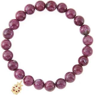 Sydney Evan 10mm Natural Ruby Beaded Bracelet with 14k Gold/Diamond Medium Ladybug Charm