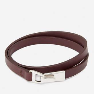 Miansai Men's Moore Wrap Bracelet with Silver Catch - Burgundy