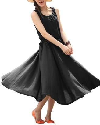 Keyuan Women's Sleeveless Sundress Drawstring Cotton Linen Dress with Pockets ,L