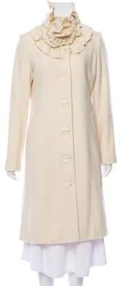 Sofia Cashmere Wool Ruffle-Accented Coat w/ Tags wool Wool Ruffle-Accented Coat w/ Tags