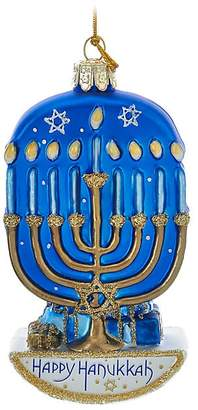 Kurt Adler Nobel Gems Hanukkah Menorah Glass Ornament