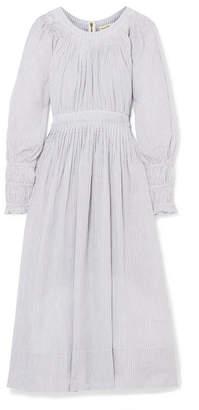 Ulla Johnson Jett Pleated Striped Metallic Cotton-blend Dress - Blue