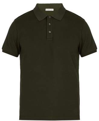 Moncler Logo Applique Cotton Pique Polo Shirt - Mens - Khaki