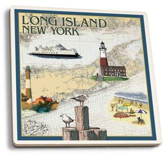 Long Island, New York - Nautical Chart - Lantern Press Artwork (Set of 4 Ceramic Coasters - Cork-backed, Absorbent)