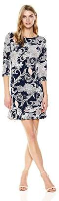 Sandra Darren Women's 1 Pc 3/4 Sleeve Printed Ity Puff Sheath Dress with Flounce