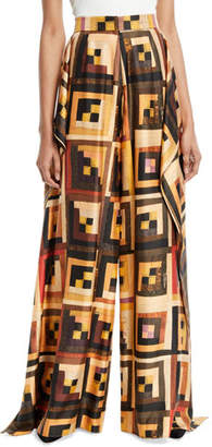 Rosetta Getty Patchwork-Quilt Wide-Leg Silk Drape Panel Trousers