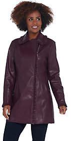 Dennis Basso Faux Leather Zip Front Jacket w/Ruffle Detail