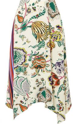 Tory Burch Marie Printed Silk Crepe De Chine Midi Skirt - Green