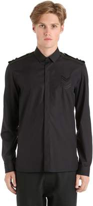 Neil Barrett Cotton Poplin Shirt W/ Chevron Patches