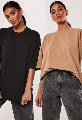 Missguided Camel And Black Oversized Drop Shoulder T Shirts 2 Pack
