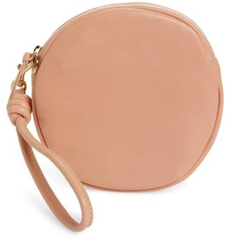 Clare Vivier Lambskin Leather Circle Clutch
