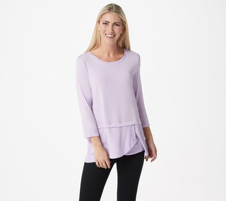 Cuddl Duds Softwear with Stretch 3/4 Sleeve Peplum Top