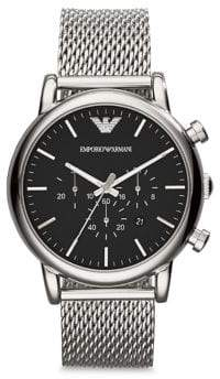 Emporio Armani Round Stainless Steel Chronograph Watch