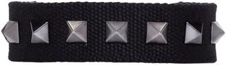 Valentino Black Canvas Rockstud Bracelet $245 thestylecure.com