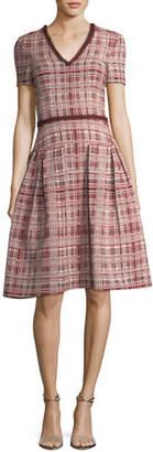 Carolina Herrera Tweed V-Neck A-Line Dress