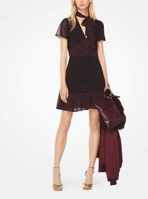 MICHAEL Michael Kors Star Chiffon Tie-Neck Dress
